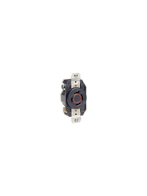 Leviton 2430 480 Volt 20 Amp 3-Pole 4-Wire NEMA L16-20R 5 Hp Black Nylon Grounding Flush Mount Locking Receptacle