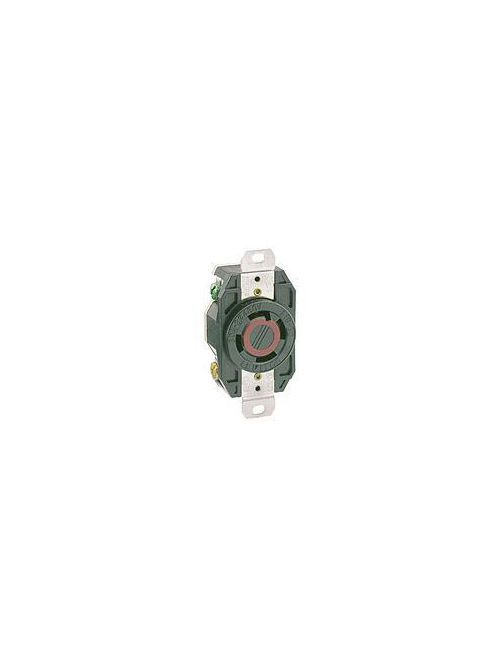 Leviton 2730 480 Volt 30 Amp 3-Pole 4-Wire NEMA L16-30R 10 Hp Black Nylon Grounding Flush Mount Locking Receptacle