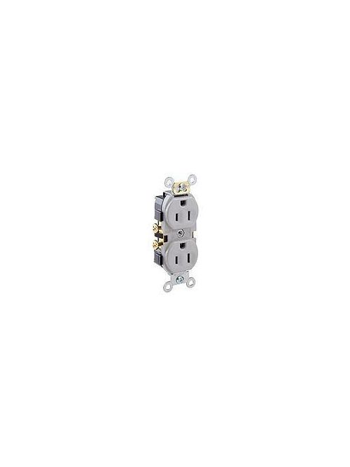 Leviton CR15-GY 125 Volt 15 Amp 2-Pole 3-Wire NEMA 5-15R 1/2 Hp Gray Thermoplastic Nylon Straight Blade Duplex Receptacle
