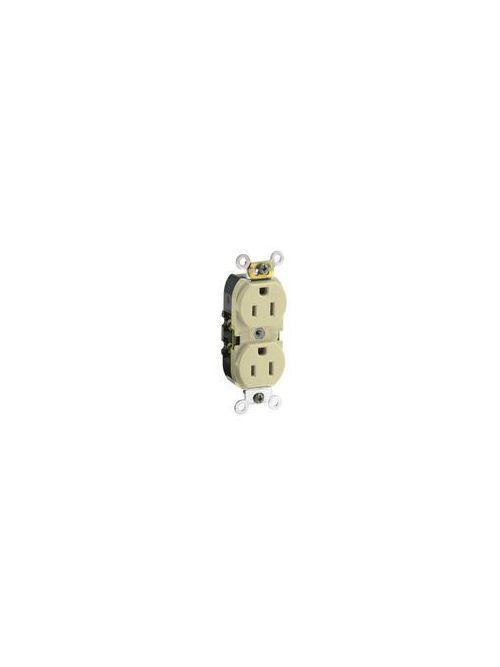 Leviton CR015-I 125 Volt 15 Amp 2-Pole 3-Wire NEMA 5-15R 1/2 Hp Ivory Nylon Slim Straight Blade Duplex Receptacle
