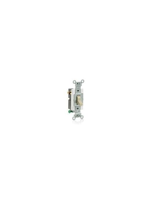 Leviton CS320-2T 120/277 VAC 20 Amp 2 Hp 3-Way Light Almond Thermoplastic Grounding Toggle Quiet Switch