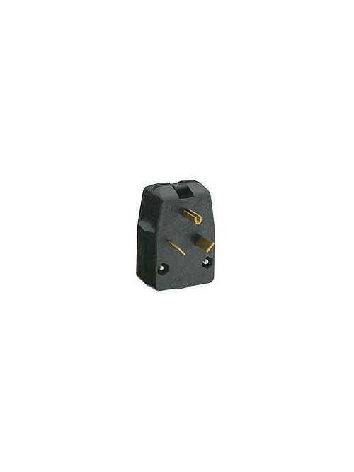 Leviton 830-T 125 Volt 30 Amp 2-Pole 3-Wire NEMA TT-30P 2 Hp Black Thermoplastic Grounding Angled Polarized Straight Blade Plug