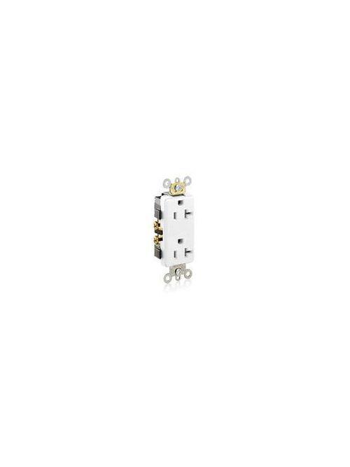 Leviton 16352-W 125 Volt 20 Amp 2-Pole 3-Wire NEMA 5-20R White Thermoplastic Nylon Straight Blade Duplex Receptacle