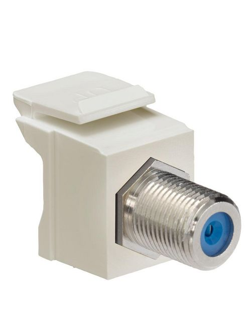 Leviton 41084-FIF 75 Ohm Nickel Plated Ivory Plastic Female-to-Female Screw-On Feed-Through F-Connector