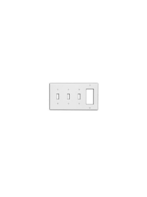 Leviton P326-I 8.19 x 0.22 x 4.5 Inch 4-Gang Ivory Thermoset Device Mount Standard Combination Wallplate