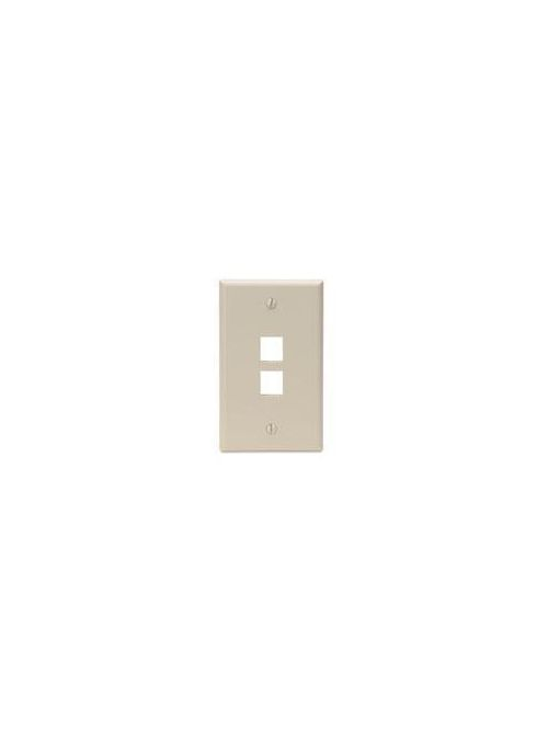 Single-Gang QuickPort Wallplate, 2-Port, Ivory