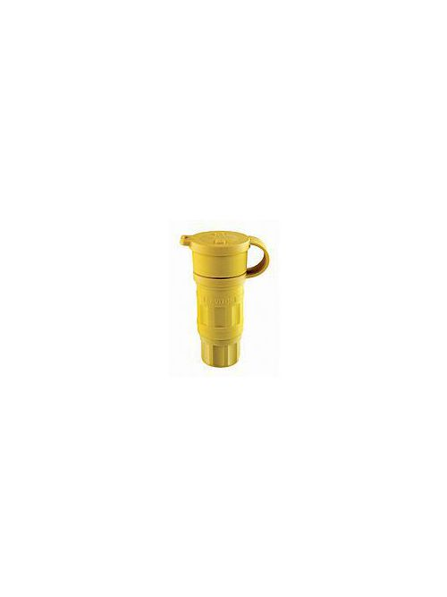 Leviton 25W47 15 Amp 125 Volt 2-Pole 3-Wire NEMA L5-15R Yellow Thermoplastic Grounding Locking Connector