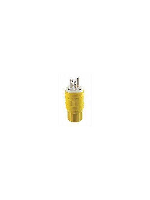 Leviton 14W48 250 Volt 20 Amp 2-Pole 3-Wire NEMA 6-20P Yellow Thermoplastic Vulcanizate Grounding Polarized Straight Blade Plug