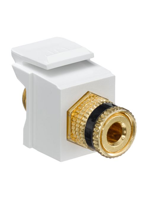 Leviton 40833-BWE White Plastic Surface/Flush Mount Snap-In Feed-Through Binding Post Audio/Video Connector
