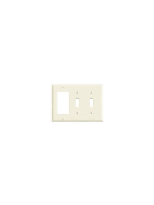 Leviton 80745-I 6.38 x 0.22 x 4.5 Inch 3-Gang Smooth Ivory Thermoplastic Nylon Device Mount Standard Combination Wallplate
