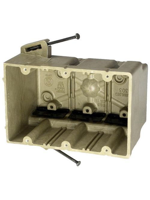 Allied Moulded Products 3303-NK 3-9/16 x 5-11/16 x 3-3/4 Inch 56.5 In 3-Gang Angled Mid-Nail Switch/Receptacle Outlet Box