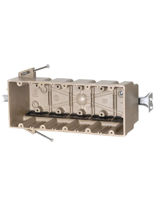 Allied Moulded Products 5305-NBK 3-9/16 x 9-1/4 x 3-3/4 Inch 94 In 5-Gang Angled Mid-Nail Switch/Receptacle Outlet Box