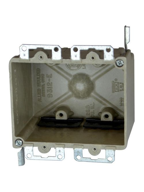 Allied Moulded Products 9312-EWK 2-3/4 x 4-1/8 x 3-1/4 Inch 28 In 2-Gang Galvanized Steel Switch/Receptacle Outlet Box