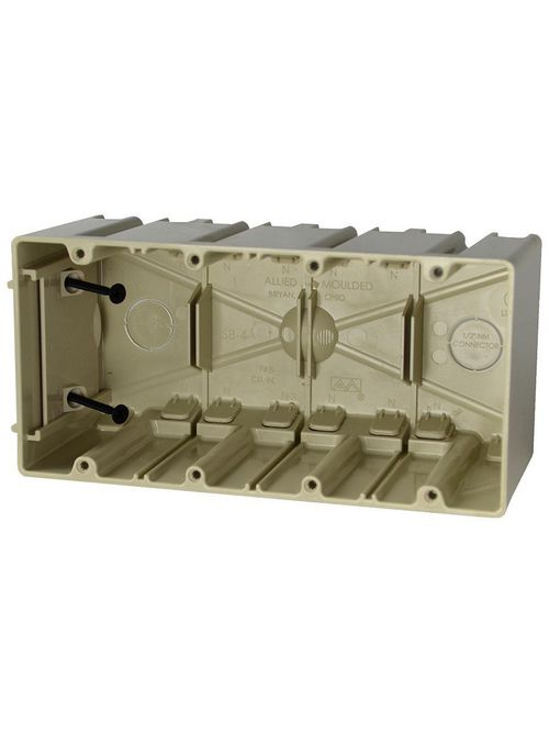 Allied Moulded Products SB-4 4-Gang 74.8 Inch  Internal Screws Switch and Outlet Box