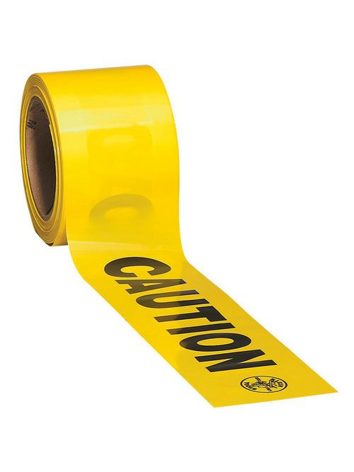 Klein Tools 58001 3 Inch x 1000 Foot Roll Bright Yellow/Black Polyethylene Barricade and Warning Tape
