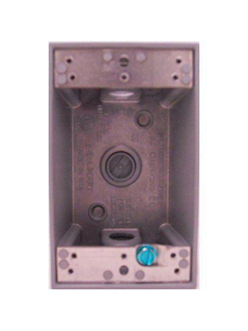 Mulberry 30201 1/2 Inch Hub 18.3 In 1-Gang Gray Die-Cast Aluminum 3-Outlet Heavy Duty Electrical Deep Box