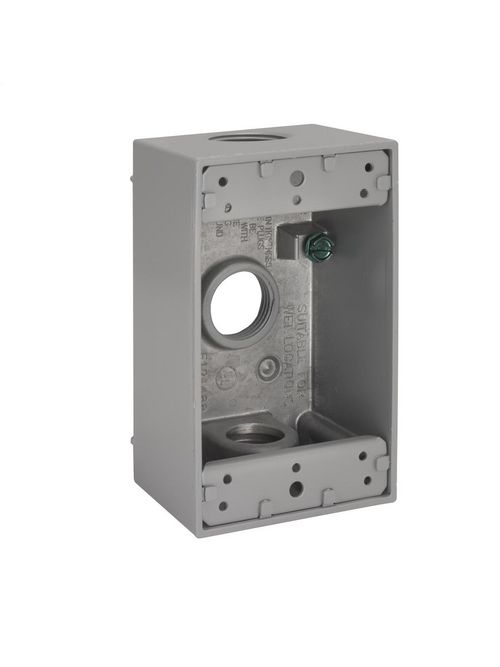 Bell 5324-0 1-Gang 18 Cubic Inch 2 Inch Deep 3 - 3/4 Inch Outlet Holes 50/Box Gray Weatherproof Outlet Box