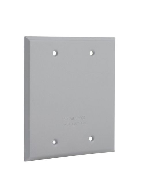 Bell 5175-0 Steel Gray 2-Gang Blank Box Weatherproof Outlet Cover with Gasket
