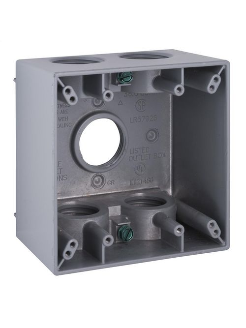 Bell 5389-0 2-5/8 Inch 37 In Gray Die-Cast Aluminum 2-Gang Weatherproof Outlet Box