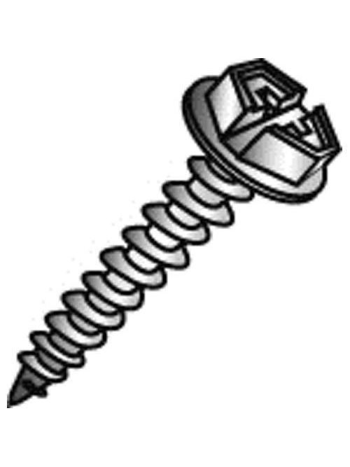 Minerallac 77032-6 #10 x 2 Inch Zinc Plated Steel Combination Slotted/Phillips Drive Hex Washer Head Sheet Metal Screw