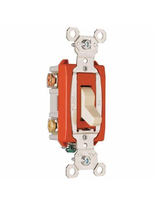 Pass & Seymour PS20AC3-I 20 Amp 120/277 VAC 3-Way Ivory Glass Reinforced Nylon Screw Mounting Toggle Switch