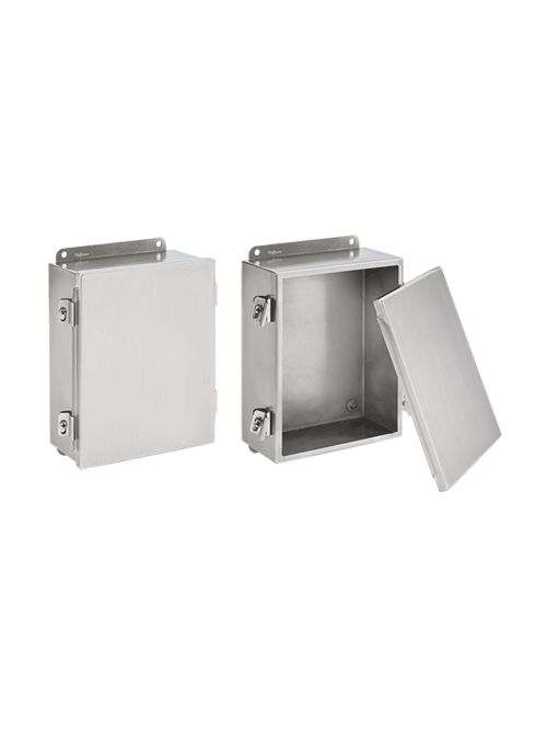Hoffman A1412NFSS 14 x 12 x 6 Inch 14 Gauge 304/316L Stainless Steel NEMA 4X Clamp Cover Junction Box