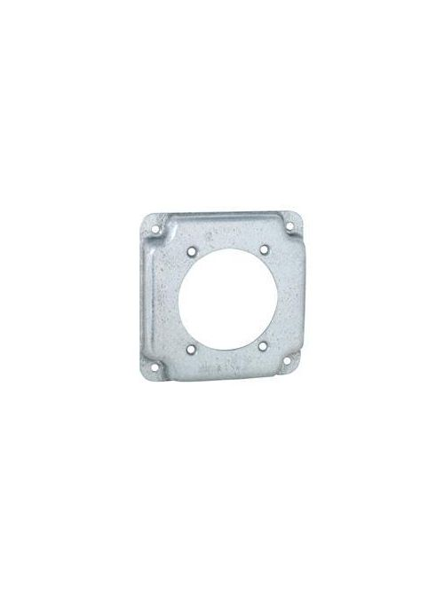 RACO 816C 4 Inch 1/2 Inch Raised 6.5 In Pre-Galvanized Steel Receptacle Crushed Corner Square Box Exposed Work Cover
