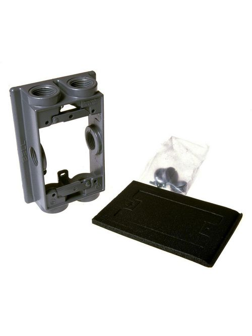 RACO 5415-0 5-1/4 x 3-1/2 x 1-1/2 Inch 12.8 In Gray Die-Cast Aluminum Swing Arm Weatherproof Box Extension Adapter