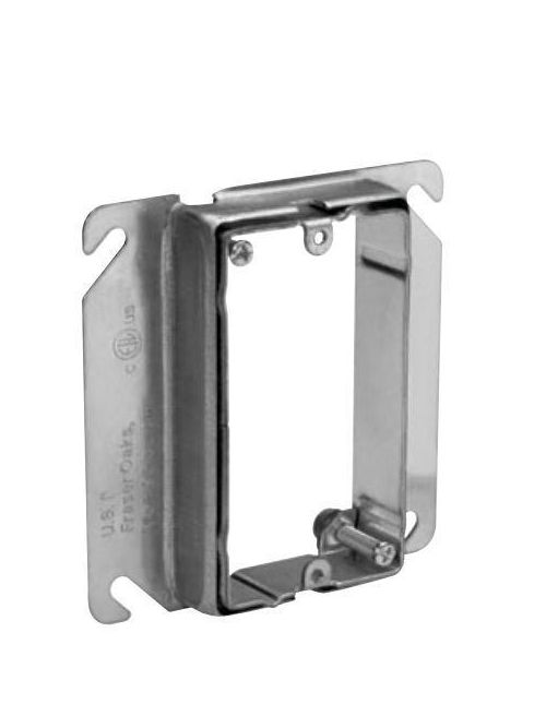 Crouse-Hinds Series AMR1 3/4 to 1-1/2 Inch 1-Gang Steel Raised Adjustable Square Box Mud Ring