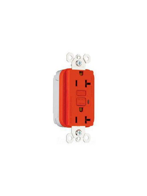 Pass & Seymour PT2095-RED 20 Amp 125 VAC 2-Pole 3-Wire NEMA 5-20R Red Thermoplastic Duplex GFCI Receptacle