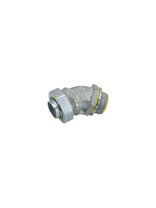 RACO 3562 1/2 Inch Zinc Electroplated Steel Insulated Throat 45 Degrees Liquidtight Conduit Connector