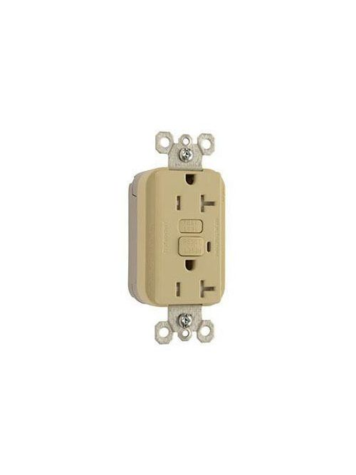 Pass & Seymour PT2095-TRI 20 Amp 125 VAC 2-Pole 3-Wire NEMA 5-20R Ivory Thermoplastic Tamper-Resistant Duplex GFCI Receptacle
