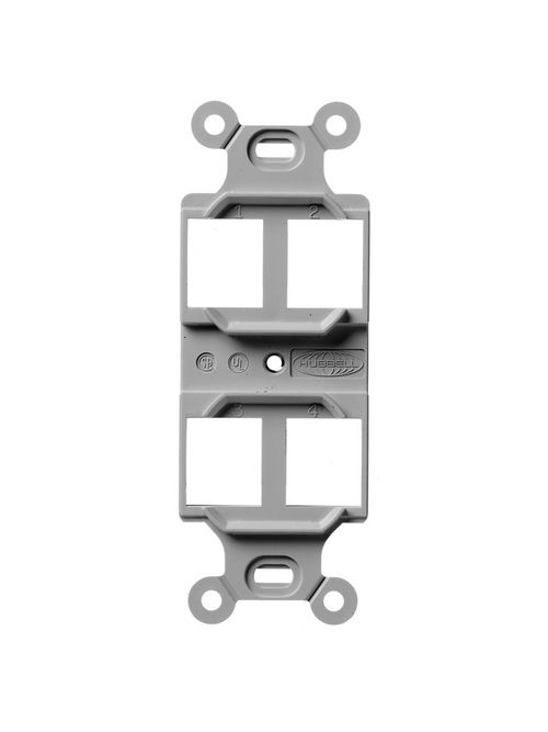Hubbell Wiring Devices Q106G 1-Gang Gray 4-Port Face Plate