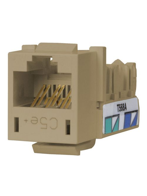 Hubbell Wiring Devices HXJ5EEI25 8-Position Ivory T568A/T568B Category 5E Modular Keystone Jack