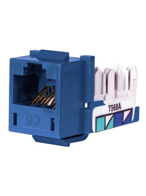 Hubbell Wiring Devices HXJ6B25 8-Position Blue T568A/T568B Category 6 Modular Keystone Jack