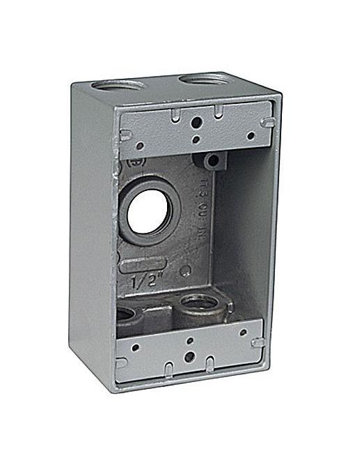 Red Dot DIH5-2-LM Silver Die-Cast Aluminum 5-Hole 1-Gang 3/4 Inch Weatherproof Box