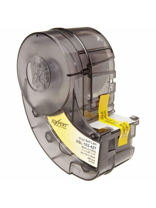 Brady XSL-103-427 250/Pack 1.25 x 1.0 x 0.5 Inch Vinyl Black On White Self Laminating Label Cartridge
