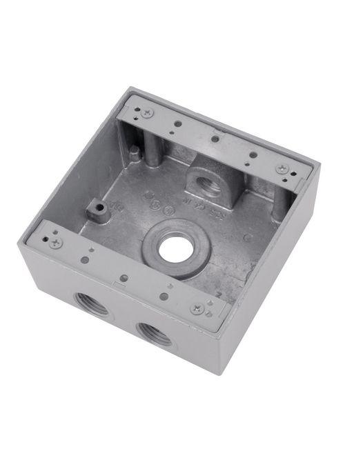 Red Dot 2IH4-2 4-Hole 2-Gang 3/4 Inch Hubs Raintight Device Box
