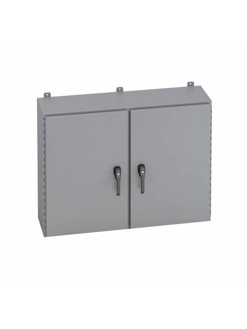 B-Line Series 364812-4D3PT 48 x 12 x 36 Inch 14 Gauge Gray Steel NEMA 4 2-Door Enclosure