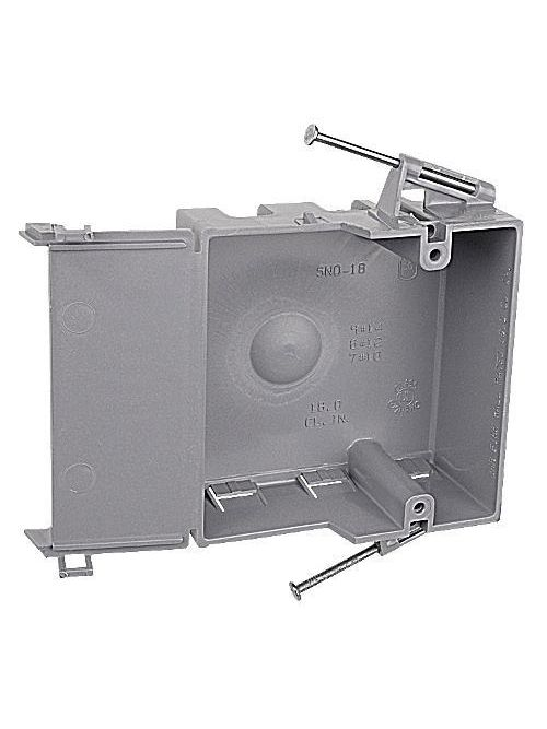 Carlon SNO-18 1-Gang PVC New Work Box w/ Nails, Hinge Closure, 18 cu.in.