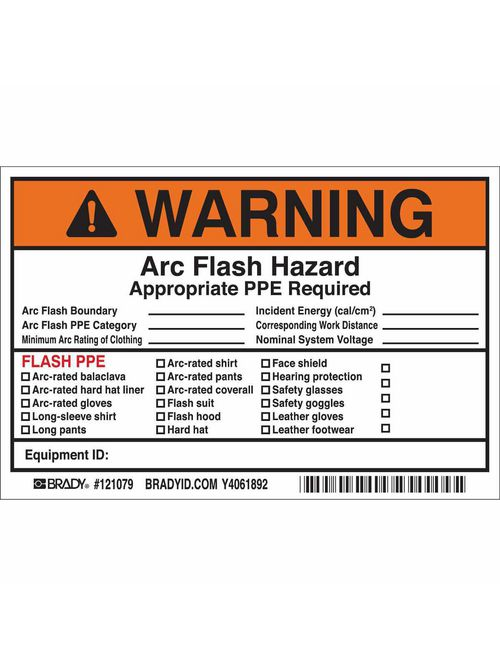 Brady 121079 6 x 4 Inch Black/Orange/White Vinyl Warning Sign