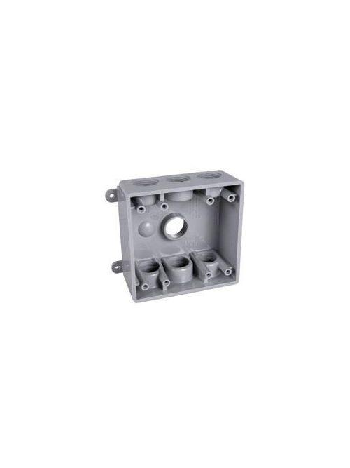 TayMac Corp PDB77550GY 2-Gang 7-Hole Gray PVC Rectangular Outlet Box