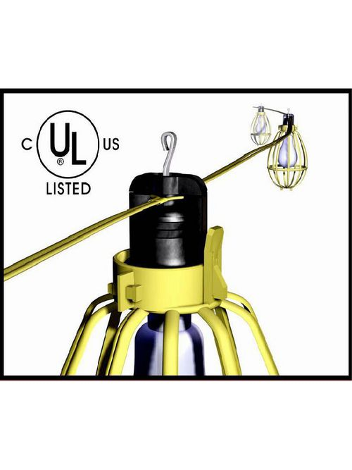 Bergen YFW-100 100ft 14/2 'AWM' Flat Cord Temporary Lighting String, 10ft Center Lampholders