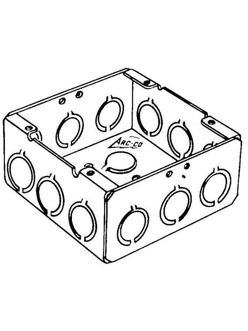 Arc-Co Electrical Boxes and Fittings 72171-3/4&1 2-1/8 Inch 44 In Square Box with Concentric Knockout