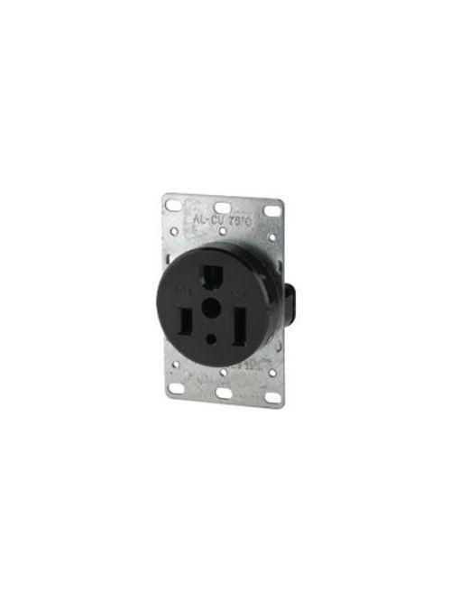 Arrow Hart Wiring 1253-BOX 50 Amp 125 VAC 2-Pole 3-Wire NEMA 5-50R Black Power Receptacle