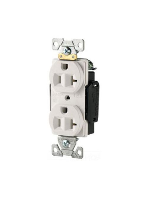 Arrow Hart Wiring 5352W 20 Amp 125 VAC 2-Pole 3-Wire NEMA 5-20R White Straight Blade Duplex Receptacle