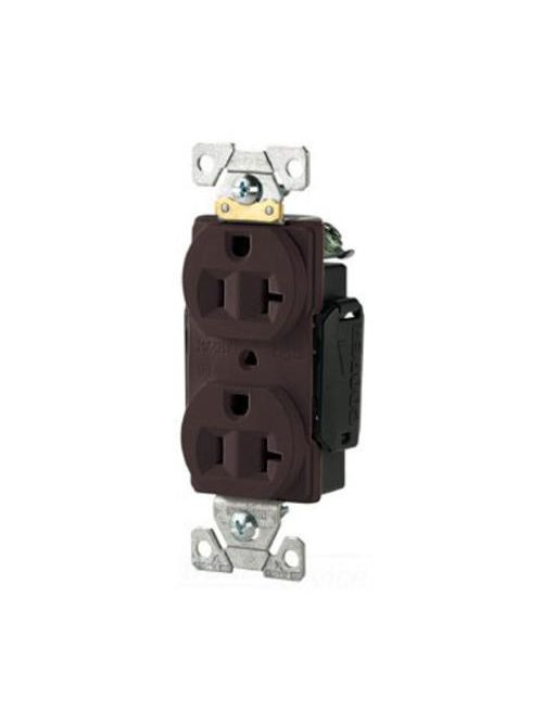 Arrow Hart Wiring 5352B 20 Amp 125 VAC 2-Pole 3-Wire NEMA 5-20R Brown Straight Blade Duplex Receptacle