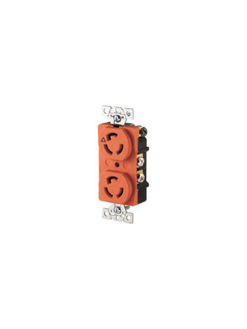 Arrow Hart Wiring IG4700 15 Amp 125 VAC 2-Pole 3-Wire NEMA L5-15R Orange Isolated Ground Locking Duplex Receptacle