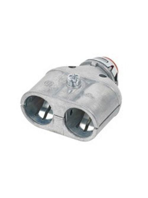 "Bridgeport 3838ASP 3/8"" AC/MC/FMC Duplex Whipper-Snap Snap-In Connector w/Insulated Throat, Zinc Die Cast"