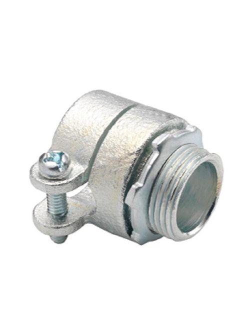 "Bridgeport 412-I 1-1/4"" Flexible Metal Conduit Squeeze Connector w/ Insulated Throat, Malleable Iron"